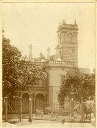 School House building and gates, early 1900's